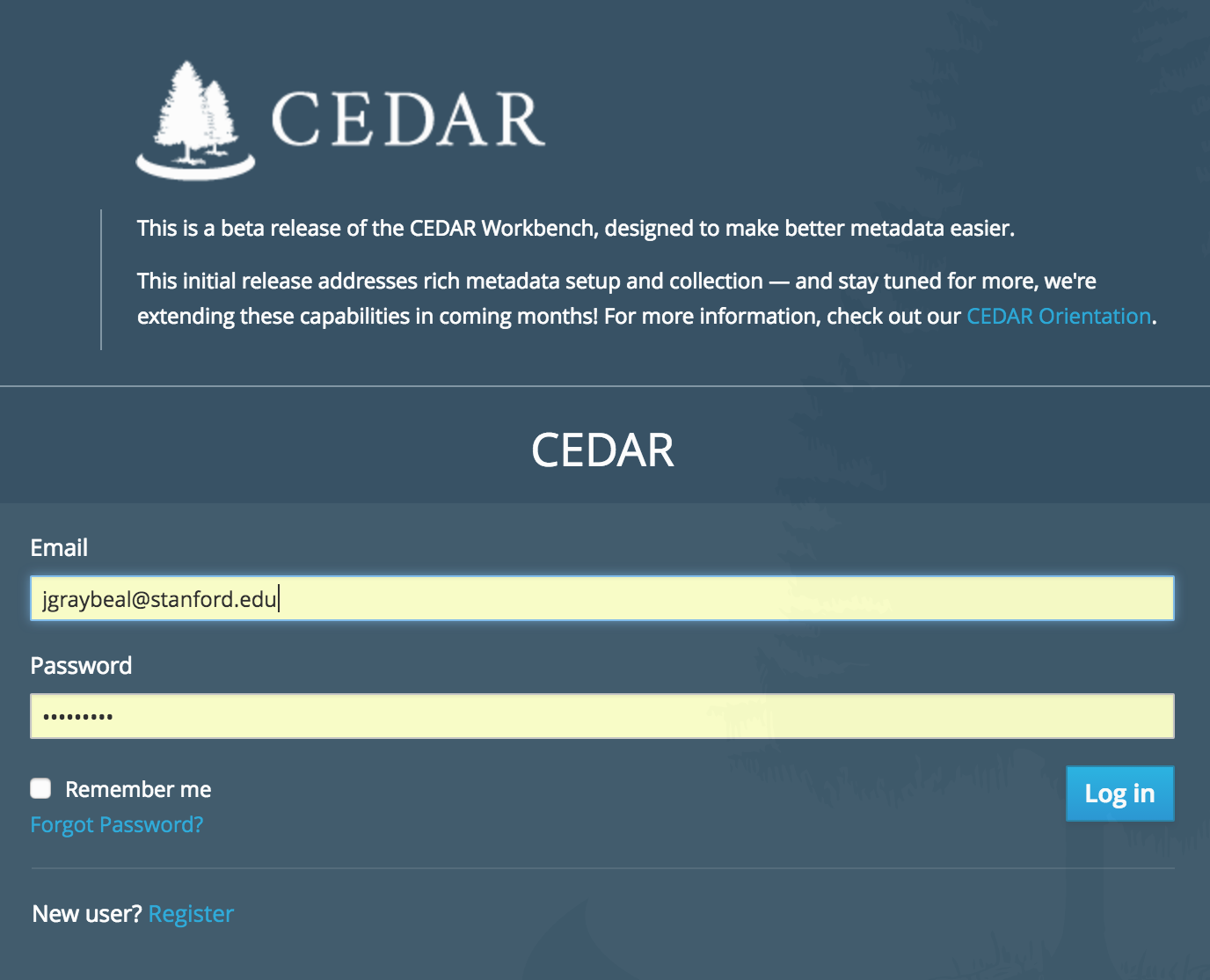 CEDAR Login at Alpha Release