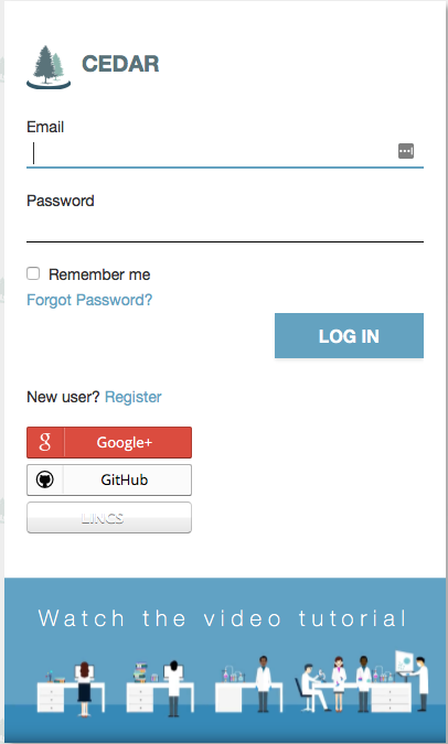 Screenshot of CEDAR Login Screeen