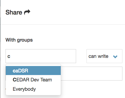 Choosing groups to share with in CEDAR