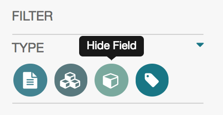 Click on field icon to hide/show fields in workspace view.